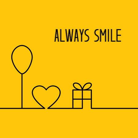 amarillo y negro: globo de fiesta y caja de regalo. diseño de la línea en forma de corazón rojo, globo de fiesta y caja de regalo sobre fondo naranja. Tarjeta de invitación con el texto de encargo siempre sonríe. Ilustración del vector.