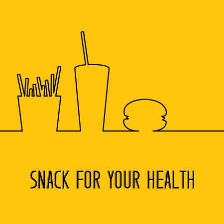 fastfood: thiết kế đồ ăn nhanh. nhà hàng fastfood thiết kế isolater trên nền màu cam. snack vàng và đồ uống. Vector hình minh họa.