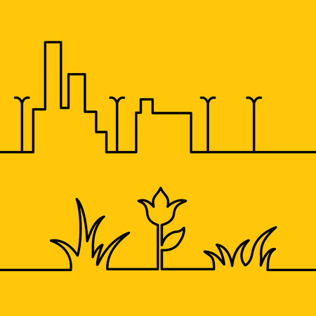 streetlight: Line design set. Yellow background with linear design. Orange summer floral background. Line in form of grass bushes and single flower isolated over orange background. Vector illustration.