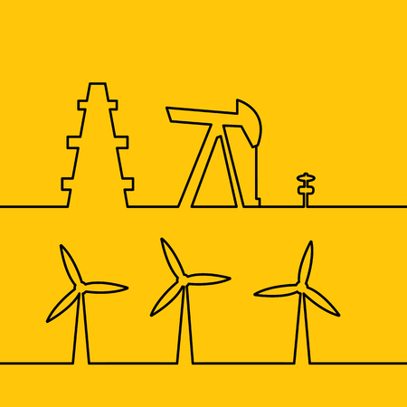 windfarm: Oil pump jack silhouette design. Wind turbines generating electricity.  Wind turbine generate electricity. Energy system works in a residential home. Green energy, wind generator. Vector illustration. Vettoriali
