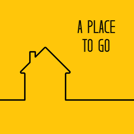 cleaness: House in minimal flat style cleaness line on yellow backdrop. Linear design of privat house. Black isolated line over orange background. Vector illustration.