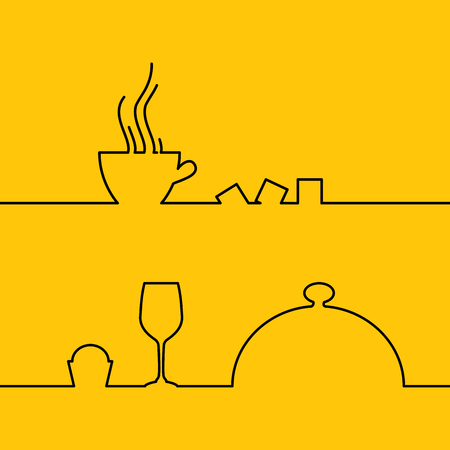 abstract illustration: Line design of coffee cup icon. Illustration template design, business info graphic, presentation, concept invitation. Template of Menu Design isolated over yellow background. Vector illustration.