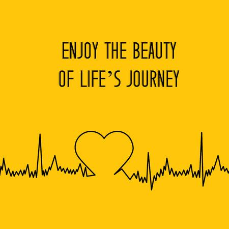 cardiological: Heart shape ECG line over bright orange background. Vector illustration.