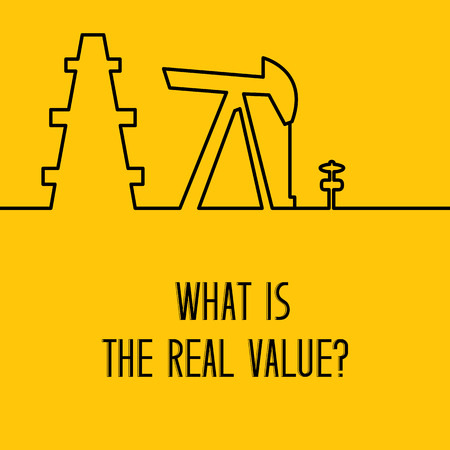 yellow line: Simple line design of oil pump for oil rig, petroleum rig. Equipment for oil research and drilling well isolated over yellow background. Vector illustration. Illustration