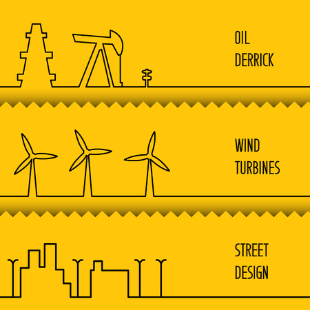 generating: Set of flat line elements over colored backgrounds. Oil pump jack silhouette design. Wind turbines generating electricity.  Wind turbine generate electricity. Green energy. Vector illustration.