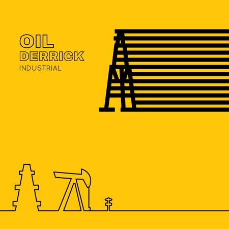 generating: Oil rig icon in line design over orange background. Oil pump jack silhouette design. Wind turbines generating electricity.  Wind turbine generate electricity. Green energy. Vector illustration.