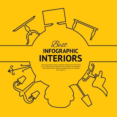 interior design: Interior circle infographics for your design. Vector illustration.