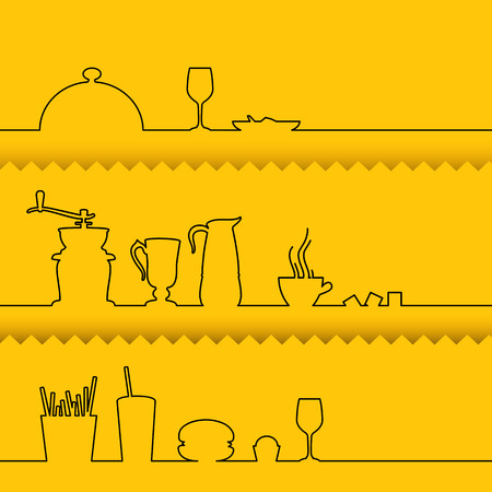 abstract illustration: Set of line design elements over yellow background. Vector illustration.