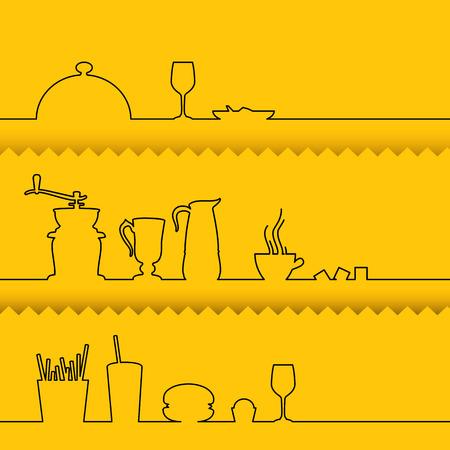 cocktails: Set of line design elements over yellow background. Vector illustration.