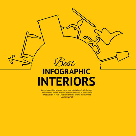 design interior: Interior circle infographics for your design with interion elements over orange background. Vector illustration. Illustration