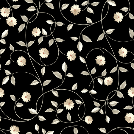 Wallpaper textuur. Naadloze bloemen achtergrond. Shabby chic stijl patronen met bloeiende witlof over blauwe achtergrond. Vector illustratie.