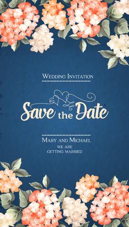 Uitnodiging verticale kaart. Bloemen verticale vintage uitnodiging met oranje tuin bloeiende bloemen. Vector illustratie.