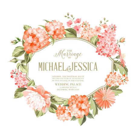 nozze: carta di invito verticale con Orange Garden fiori che sbocciano. modello di scheda dell'invito con il fiore ortensia e testo personalizzato su di loro. composizione di fiori. Illustrazione vettoriale.