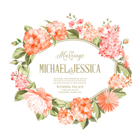 Vertical invitation card with orange garden blooming flowers. Invitation card template with blooming hydrangea and custom text over them. Flower composition. Vector illustration.