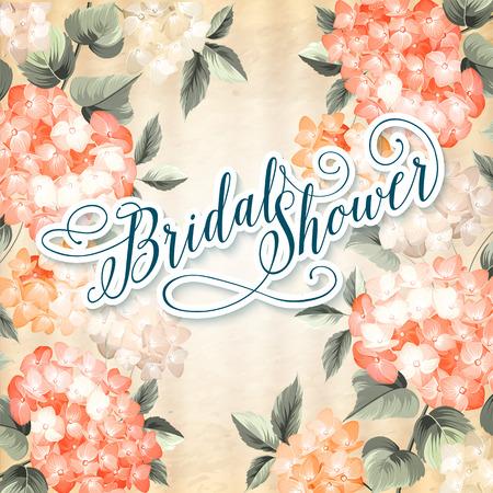 invitacion fiesta: Plantilla de tarjeta de invitaci�n con la floraci�n grupo hortensias y texto Ducha nupcial sobre ellos. Naranja composici�n de color. Ilustraci�n del vector. Vectores