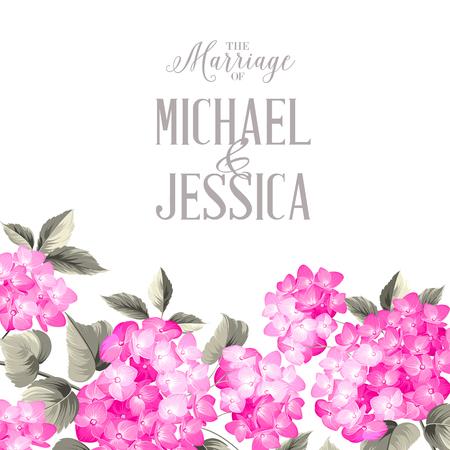 purple flower: Marriage invitation card. with custom text. Purple garland hydrangea on white background. Red head of hydrangea flower. Vector illustration.