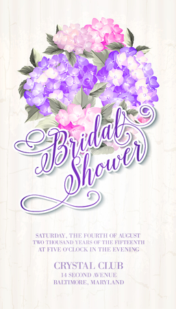 Invitation card template with blooming hydrangea and text group Bridal Shower over them. Vector illustration. Illustration