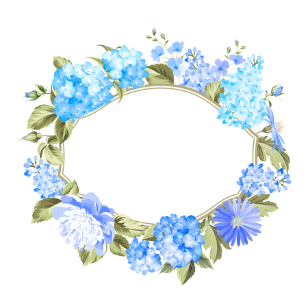 Invitation card with blue wreath. Floral garland with blooming hydrangea and place for text. Blue colored composition. Vector illustration. Vectores
