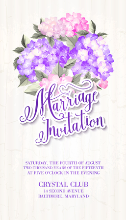 invitaci�n matrimonio: Invitation card template with blooming hydrangea and text group Marriage Invitation over them. Blue flowers on the gray background. Vector illustration. Vectores