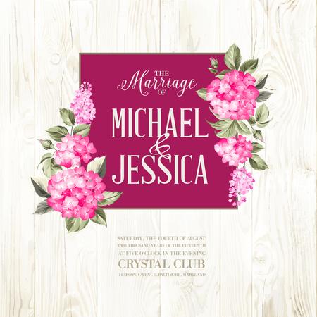 Huwelijk uitnodigingskaart. met aangepaste tekst. Paarse krans hortensia op hout achtergrond. Rood hoofd van hortensia bloem. Vector illustratie.