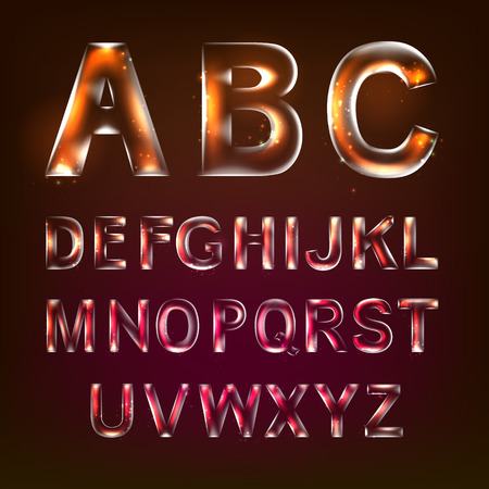 vector set: Font alphabet symbols in style of transparent glass isolated over dark red background. Vector illustration consists layered structure and may be easy changed. Illustration