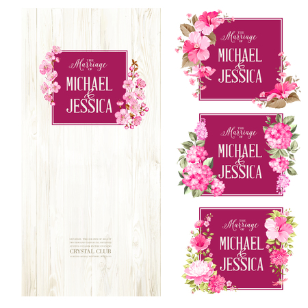 Set of marriage invitations. Big bundle of Marriage invitation cards with custom sign and flower frame over wooden background. Rose mallow garland over wood with romantic text. Vector illustration. Illustration