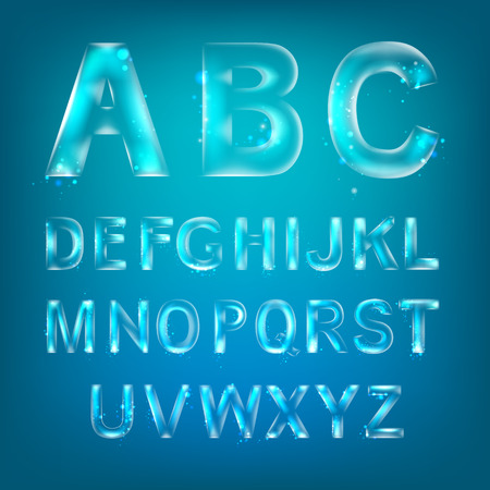 water alphabet: Font alphabet symbols in style of transparent glass isolated over blue background. Vector illustration consists layered structure and may be easy changed. Illustration