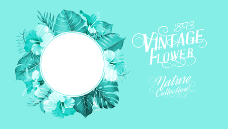 palm wreath: Tropical flower frame with summer holidays text. Vector illustration. Illustration