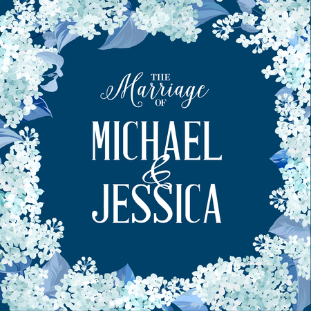wedding: romantik tasarım için bahar syringa çerçeve çiçekler. mavi arka plan üzerinde beyaz çiçekler. özel metin ve isimler Michael ve Jessica ile evlilik kartı. Bahar çerçeve çiçekler. vektör çizim Çizim