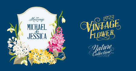 syringa: Spring syringa flowers frame for the romantic design. White flowers over blue background. Marriage card with custom text and names Michael and Jessica. Spring flowers frame. Vector illustration