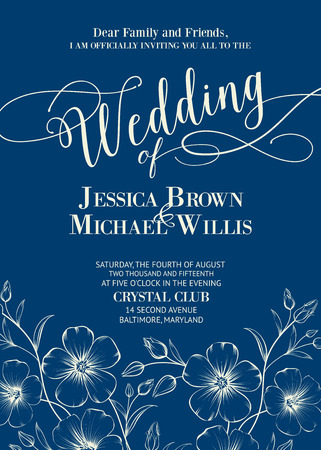 Wedding card template with custom text and flowers in the bottom of the card. Marriage invitation template. White contour over blue background. Vector illustration.
