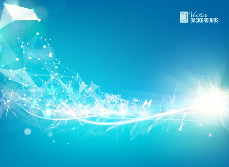 Azul de fondo liso líneas de luz con el elemento de red poligonal. estructura triángulo asimétrico. resumen de antecedentes para presentaciones de la ciencia. Ilustración del vector.