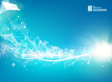 Blue smooth light lines background with polygonal network element. Asymmetric triangle structure. Abstract background for science presentations. Vector Illustration.