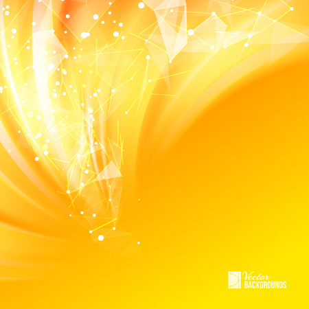 orange background abstract: Colorful smooth light lines background with polygonal network element. Asymmetric triangle structure. Abstract background for business presentations. Vector Illustration. Illustration