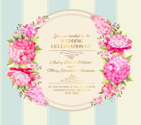 tarjeta de invitacion: Tarjeta de invitación de boda con flores de color rosa. Plantilla de la vendimia de tarjeta de invitación de boda con niño y niña nombres y guirnalda de flores. Ilustración del vector.