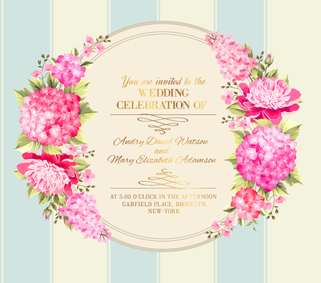 text pink: Wedding invitation card with pink flowers. Vintage wedding invitation card template with boy and girl names and flower garland. Vector illustration. Illustration
