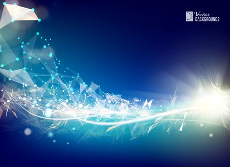 Blu luce linee morbide sfondo con elemento di rete poligonale. la struttura triangolare asimmetrica. Sfondo astratto per le presentazioni scientifiche. Illustrazione vettoriale.