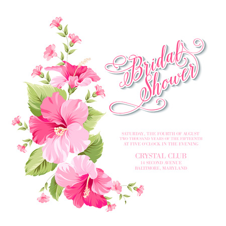 Flower garland for invitation card. Invitation card template with blooming flowers and custom text isolated over white. Pink flowers on the white background. Vector illustration.