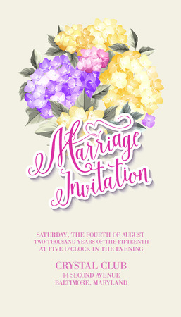 marriage invitation: Invitation card template with blooming hydrangea and text group Marriage Invitation over them. Blue and yellow flowers on the white background. Vector illustration. Illustration