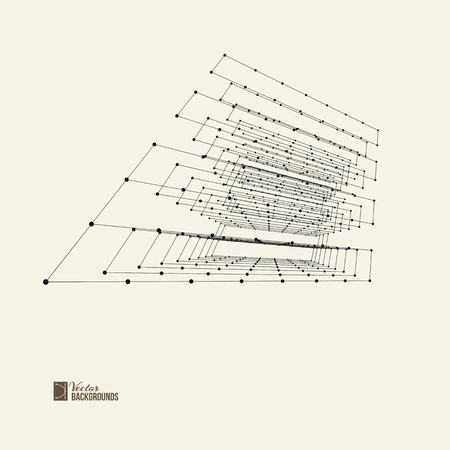vertices: Abstract background with dots and lines. Connection structure. Gray background. Composition of wire-frame elements in the form of cube with vertices in different perspective. Vector illustration. Illustration