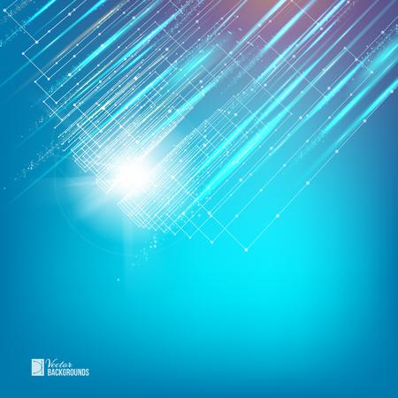 多角形のネットワーク要素に青色の背景に白い滑らかなライン。科学プレゼンテーションのための抽象化です。ワイヤ メッシュの多角形要素。未来
