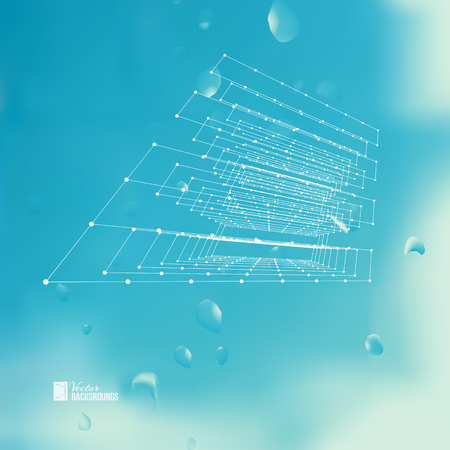 aerials: Polygonal cube created from white smooth lines with dots and sparks. Science figure over backgrond with spalshes and drops. Vector illustration. Illustration