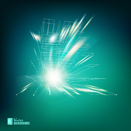 Polygonal cube created from white smooth lines with dots and sparks. Vector illustration.
