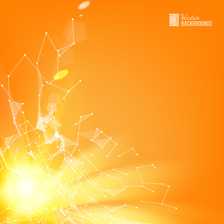 Yellow smooth lines over orange background with polygonal network element. Abstraction for science. Wireframe mesh polygonal element. Abstract futuristic background. Vector illustration.