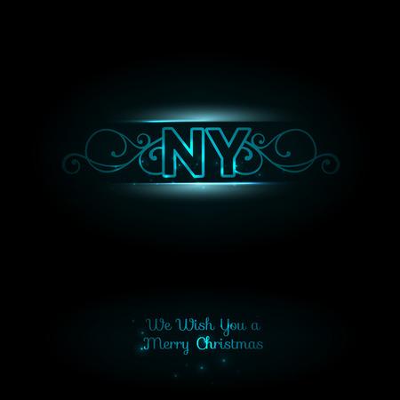 ny: NY logo. Dark background. Elegant blue font. New york logo. New Year greeting card. Vector illustration.