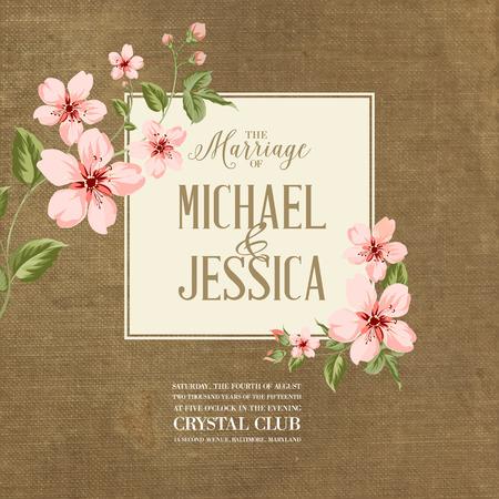fleur de cerisier: Invitation de mariage sur fond de tissu. Fleurs de printemps. Fleur de cerisier. Illustration