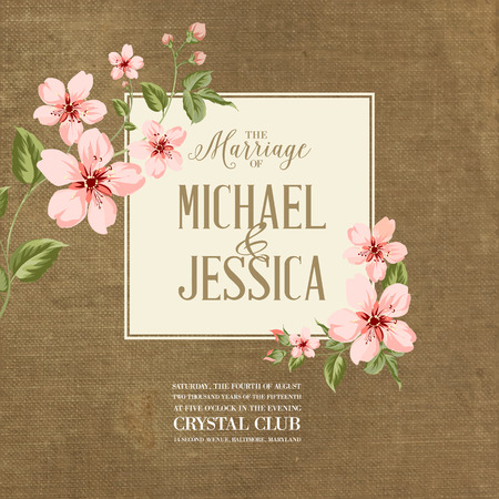 flower borders: Wedding invitation on fabric background. Spring flowers. Cherry blossom.