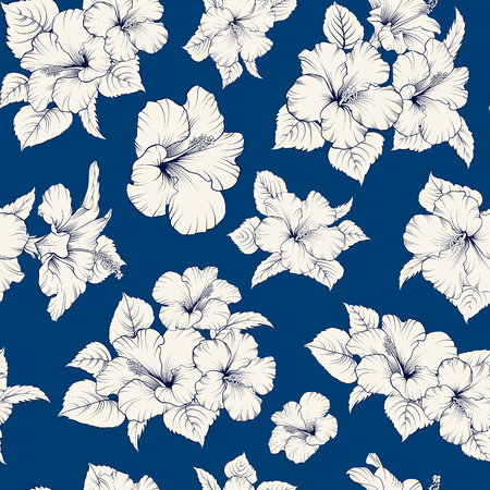 flower leaf: Floral wallpaper texture. Card with romantic flowers on blue background. Vector illustration.