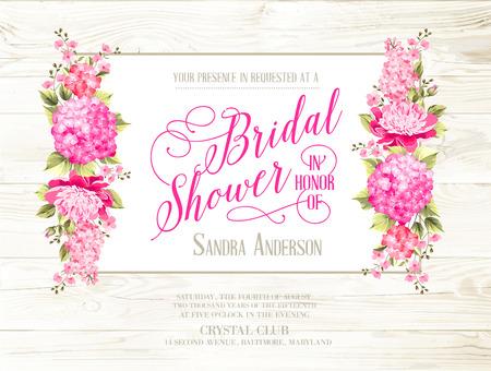 木製のパターン上にアイボリー ラベルのブライダル シャワーの招待状。ばねまたは夏のブライダル シャワーのビンテージ花柄招待。ベクトルの図