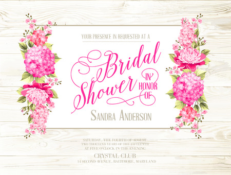 Bridal shower invitation with ivory label on wooden pattern. Vintage floral invitation for spring or summer bridal shower. Vector illustration.